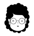contour woman face with hairstyle and glasses vector image vector image