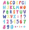 cute cartoon english coloured alphabet and set of vector image vector image
