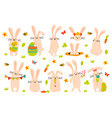 cute easter bunny spring funny rabbits easter vector image