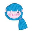 cute face girl blue hair cartoon character vector image vector image