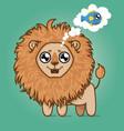 cute hungry lion cartoon animal vector image vector image