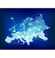 Europe map polygonal with spot lights places vector image