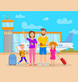 family in airport terminal vector image vector image