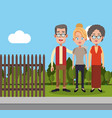 family members fence landscape vector image
