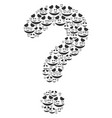 faq composition of embarassed smile icons vector image