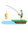 Fisherman and fish vector image vector image