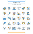 flat line design smart home icons vector image vector image
