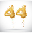 golden 44 number forty-four metallic balloon vector image vector image