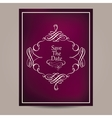 Greeting card with vintage frame on blurred dark vector image vector image