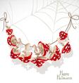 Halloween banner with a garland Mushroom amanita vector image vector image