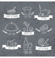 Hand drawn food and drinks labels Doodle emblems vector image vector image