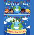 happy earth day card with happy kids on earth vector image