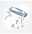 harmonica sketch line design music instrument vector image