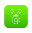 hockey champion medal icon green vector image vector image