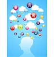 Human head cloud storage concept vector image vector image