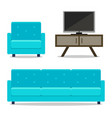 interior home furniture sofa and armchair with tv vector image