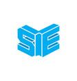 letters se 3d book shape logo