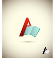 logo letter A with an open book Concept design for vector image vector image