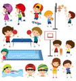 many children playing different sports vector image vector image