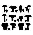 mushrooms silhouettes set vector image