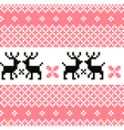 Norway pattern with reindeer - pink and white vector image