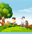 people with dogs in park vector image vector image