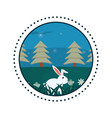 rabbit in forest round icon vector image