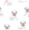 seamless pattern with cute french bulldog on vector image vector image