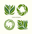 set grass and leaves label abstract design square vector image vector image