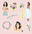 set lovely stickers with spring flowers girls vector image vector image