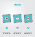 set of drink icons flat style symbols with cup vector image