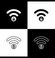 set wifi locked sign icons isolated on black and vector image vector image