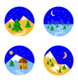 set with pictures of ski landscape in mountains vector image