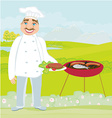 smiling chef grills meat vector image vector image