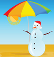 snowman on the beach vector image