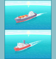 steamboat marine transport vessel cargo ship icons vector image