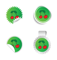 sticker green color with red cherry vector image vector image