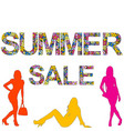 summer sale background with women silhouettes vector image vector image