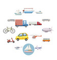 transportation icons set cartoon style vector image
