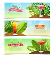 tropical paradise vacations 3 banners set vector image vector image