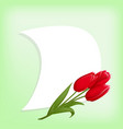 tulips and paper card vector image vector image