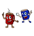 Two happy cartoon mugs of coffee vector image vector image