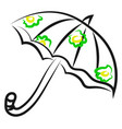 umbrella drawing on white background vector image vector image