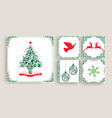 vintage christmas decoration greeting card set vector image