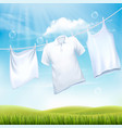 washing white clothes hanging on the rope design vector image vector image