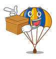 with box parachute isolated with in the cartoons vector image