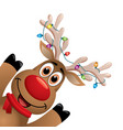 xmas drawing funny red nosed reindeer vector image vector image