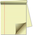 yellow legal pad corner paper page curl spotlight vector image vector image