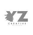 yz y z zebra letter logo design with black and vector image
