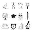 school set icons vector image